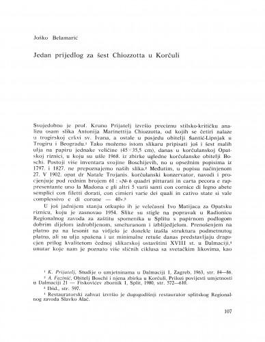 Jedan prijedlog za šest Chiozzotta u Korčuli : Bulletin Razreda za likovne umjetnosti Jugoslavenske akademije znanosti i umjetnosti