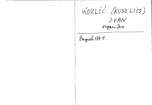 Kozlić (Koszlics) Ivan orguljar