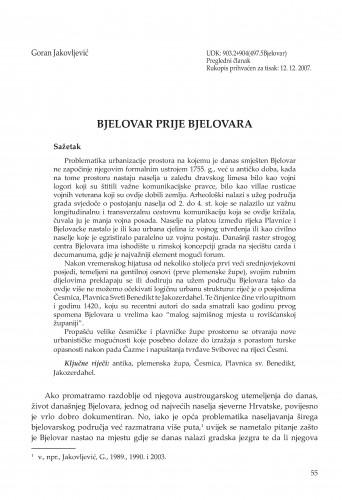 Bjelovar prije Bjelovara : Radovi Zavoda za znanstvenoistraživački i umjetnički rad u Bjelovaru