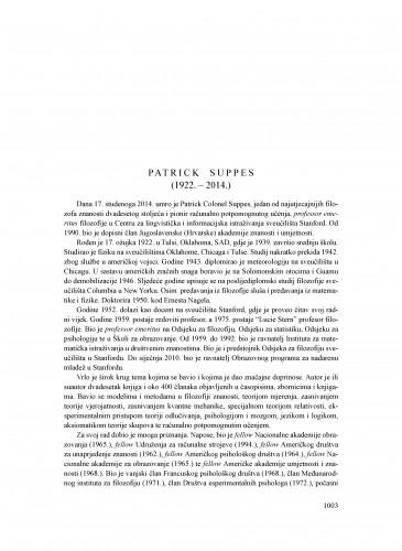 Patrick Suppes (1922.-2014.) : [nekrolog] : Ljetopis