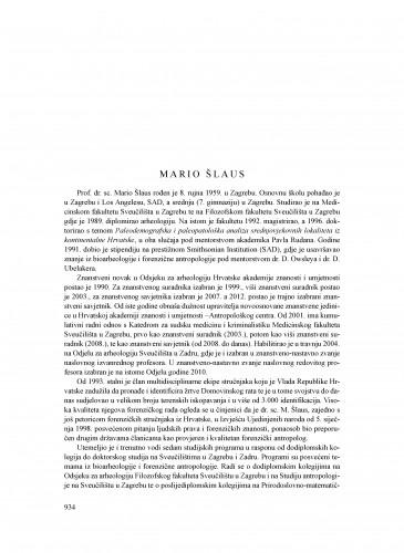 Mario Šlaus : Ljetopis