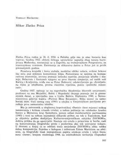 Slikar Zlatko Prica : Bulletin Razreda za likovne umjetnosti Jugoslavenske akademije znanosti i umjetnosti