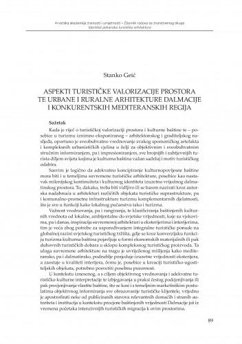 Aspekti turističke valorizacije prostora te urbane i ruralne arhitekture Dalmacije i konkurentskih mediteranskih regija