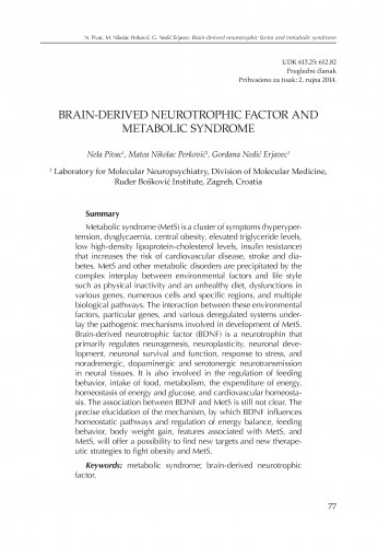 Brain-derived neurotrophic factor and metabolic syndrome
