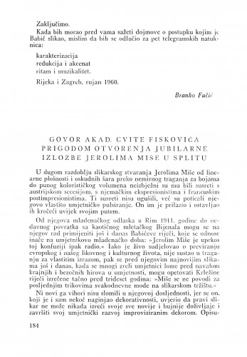 Govor akad. Cvite Fiskovića prigodom otvaranja jubilarne izložbe Jerolima Miše u Splitu : Bulletin Odjela VII. za likovne umjetnosti Jugoslavenske akademije znanosti i umjetnosti