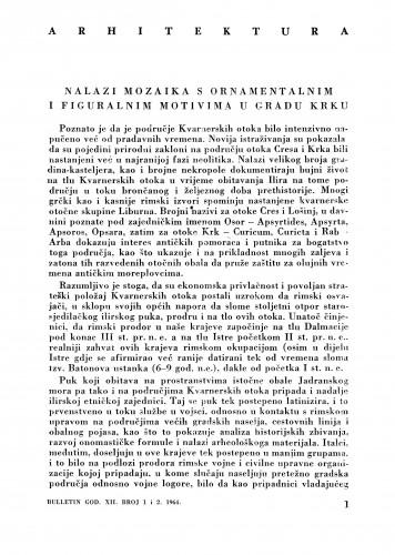 Nalazi mozaika s ornamentalnim i figuralnim motivima u gradu Krku : Bulletin Zavoda za likovne umjetnosti Jugoslavenske akademije znanosti i umjetnosti