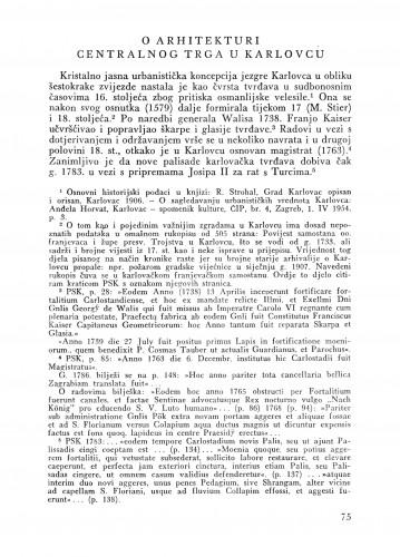 O arhitekturi Centralnog trga u Karlovcu : Bulletin Zavoda za likovne umjetnosti Jugoslavenske akademije znanosti i umjetnosti