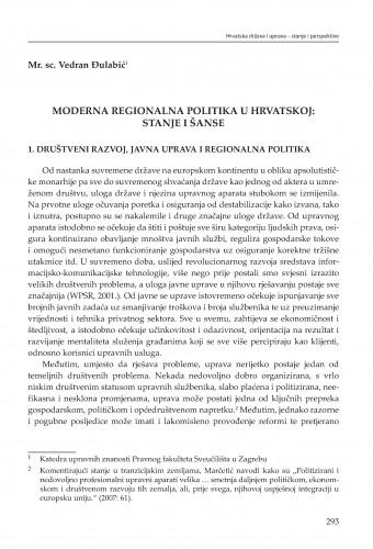 Moderna regionalna politika u Hrvatskoj: stanje i šanse : [strukturne zadaće] : Modernizacija prava