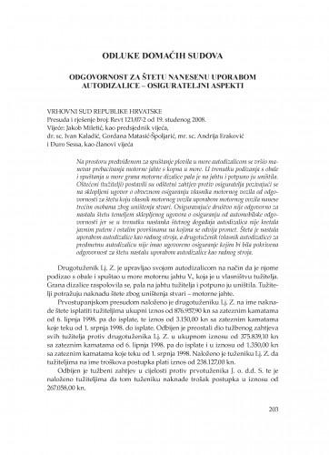 Odgovornost za štetu nanesenu uporabom autodizalice - osigurateljni aspekti (Vrhovni sud Republike Hrvatske, presuda i rješenje broj: Revt 121/07-2 od 19.11. 2008.) : [prikaz] : Poredbeno pomorsko pravo