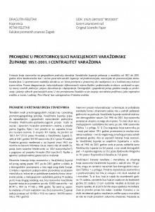 Promjene u prostornoj slici naseljenosti Varaždinske županije 1857.-2001. i centralitet Varaždina