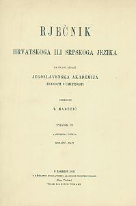 Sv. 30 : Moračić-naći : Rječnik hrvatskoga ili srpskoga jezika