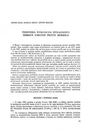 Terenska evaluacija efikasnosti domaće vakcine protiv morbila