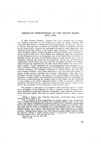 American perception of the South Slavs, 1875-1941
