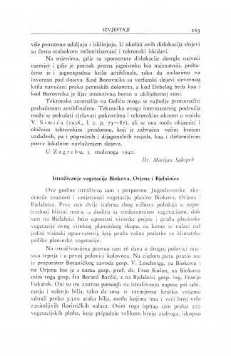 Istraživanje vegetacije Biokova, Orjena i Bjelašnice / I. Horvat