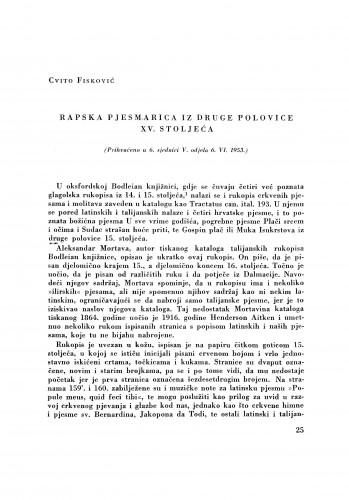 Rapska pjesmarica iz druge polovice XV. stoljeća / Cvito Fisković