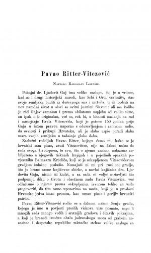 Pavao Ritter-Vitezović : Građa za povijest književnosti hrvatske