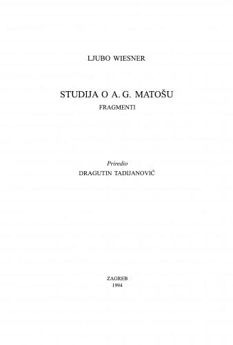 Studija o A. G. Matošu