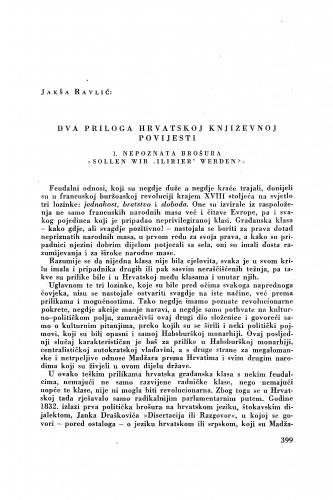 Dva priloga hrvatskoj književnoj povijesti : nepoznata brošura / Jakša Ravlić