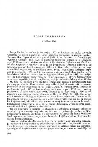 Josip Torbarina (1902-1986) : [nekrolozi] / Rudolf Filipović