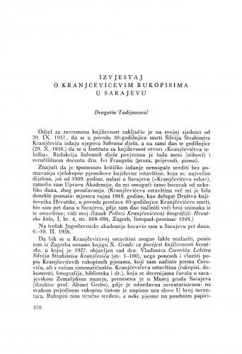 Izvještaj o Kranjčevićevim rukopisima u Sarajevu / D. Tadijanović