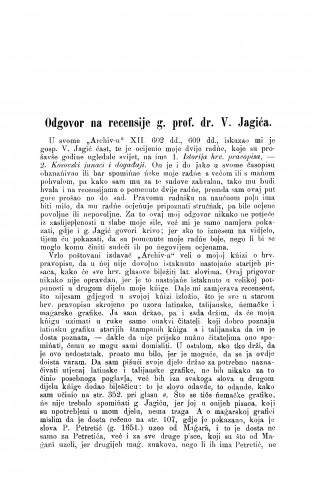 Odgovor na recensije g. prof. dr. V. Jagića