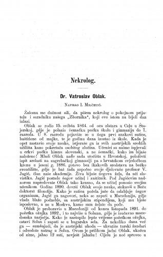 Dr. Vatroslav Oblak : nekrolog : Zbornik za narodni život i običaje