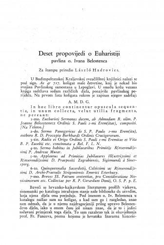 Deset propovijedi o Euharistiji pavlina o. Ivana Belostenca / Laszlo Hadrovics