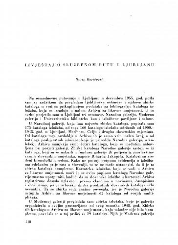 Izvještaj o službenom putu u Ljubljanu / D. Baričević