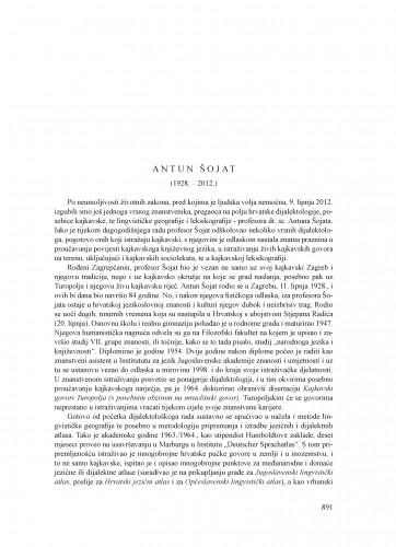 Antun Šojat (1928.-2012.) : [nekrolog] : Ljetopis