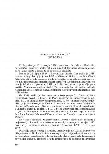 Mirko Marković (1929.-2009) : [nekrolog] : Ljetopis