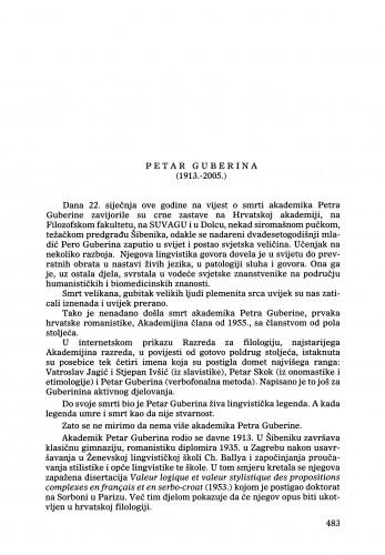 Petar Guberina (1913.-2005.) : [nekrolog] : Ljetopis