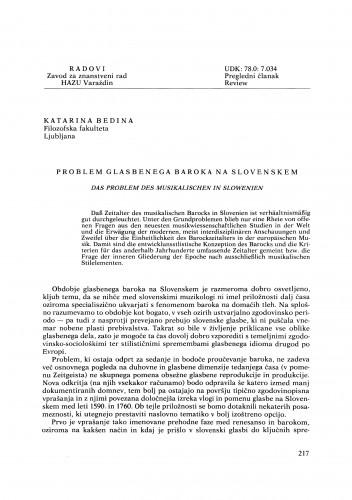 Problem glasbenega baroka na slovenskem : Radovi Zavoda za znanstveni rad Varaždin