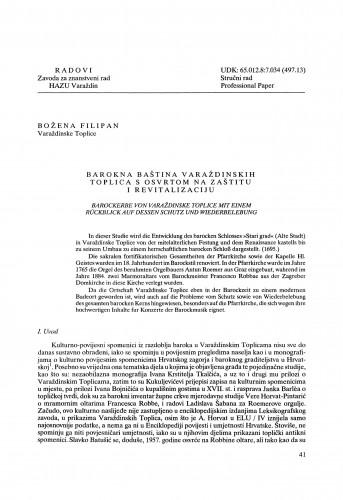 Barokna baština Varaždinskih Toplica s osvrtom na zaštitu i revitalizaciju : Radovi Zavoda za znanstveni rad Varaždin