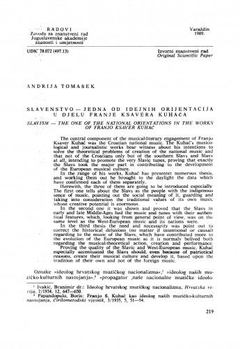 Slavenstvo - jedna od idejnih orijentacija u djelu Franje Ksavera Kuhača : Radovi Zavoda za znanstveni rad Varaždin