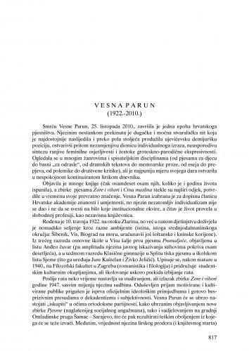 Vesna Parun (1922.-2010.) : nekrolog : Ljetopis