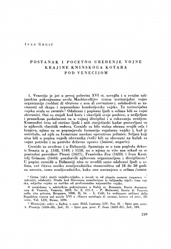 Postanak i početno uređenje Vojne krajine kninskog korata pod Venecijom / Ivan Grgić