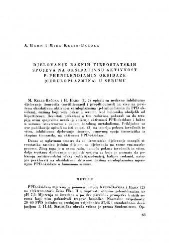 Djelovanje raznih tireostatskih spojeva na oksidativnu aktivnost P-Phenilendiamin oksidaze (ceruloplazmina) u serumu