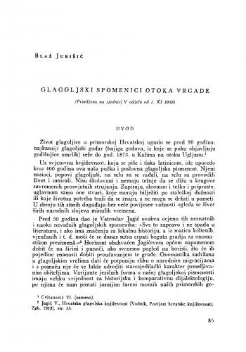 Glagoljski spomenici otoka Vrgade