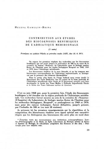Contribution aux études des biocoenoses benthiques de l´Adriatique méridionale