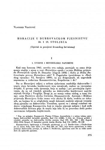 Horacije u dubrovačkom pjesništvu 18. i 19. stoljeća