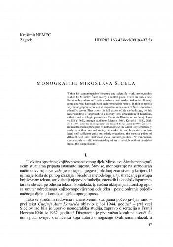 Monografije Miroslava Šicela : Radovi Zavoda za znanstveni rad Varaždin
