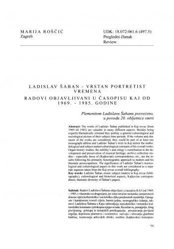 Ladislav Šaban - vrstan portretist vremena : radovi objavljeni u časopisu Kaj od 1969. - 1985. godine