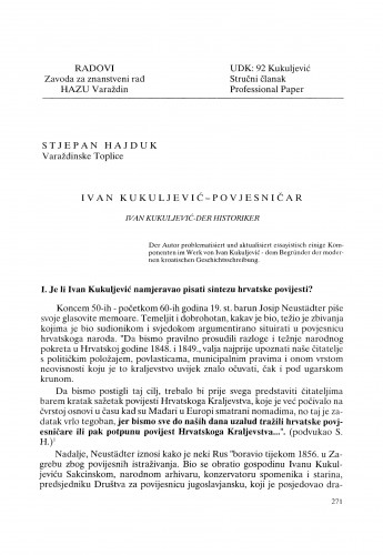 Ivan Kukuljević - povjesničar : Radovi Zavoda za znanstveni rad Varaždin