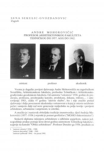 Andrija Mohorovičić profesor Arhitektonskog fakulteta (Tehničkog do 1957., AGG do 1962.) : Radovi Zavoda za znanstveni rad Varaždin