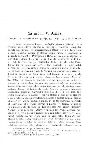 Na grobu V. Jagića / M. Murko