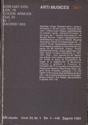 God. 24(1993), br. 1 : Arti musices
