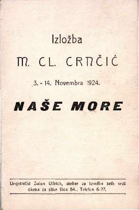 Izložba M. Cl. Crnčić: Naše More