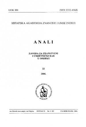 Sv. 22 (2006) : Anali Zavoda za znanstveni i umjetnički rad u Osijeku