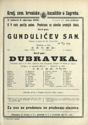 Gundulićev san ; Dubravka Slika ; Pastirska igra u tri čina
