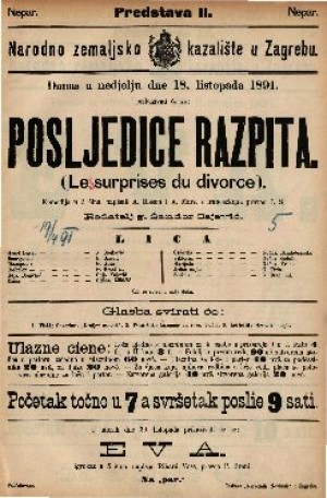 Posljedice razpita (Les surprises du divorce) Komedija u 3 čina